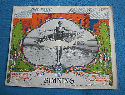 Orig.PRG / Pictorial Review  Olympic Games STOCKHOLM 1912 - SWIMMING  !!  RARITY