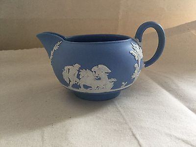 VGC Wedgwood Blue Jasperware Small Milk/Cream Jug 2.5'' (6cm)