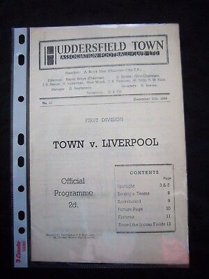 HUDDERSFIELD TOWN - LIVERPOOL FC   1949/50   Division 1  // Orig.Programme  !!