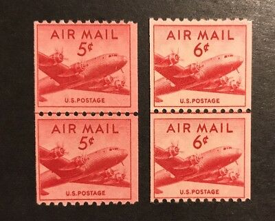 TDStamps: US Airmail Stamps Scott#C37 C41 (2) Mint NH OG Line Pairs