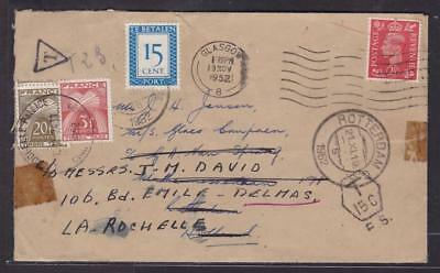 E22887 Great Britain - 1952 Cover Taxed First In Holland And Then In France