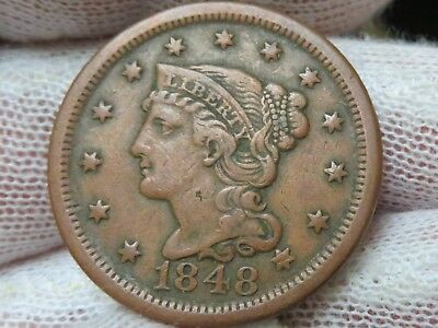 1848 Braided Hair U.S. Large Cent, and free shipping