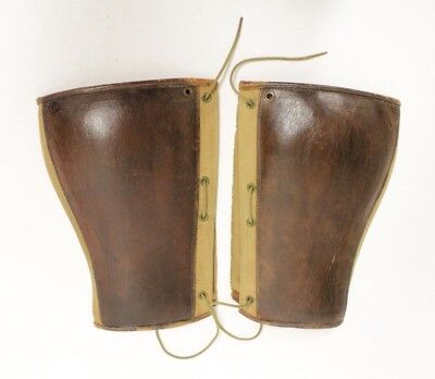 Original WWI US Military Officer Leather & Canvas Puttees, Size 14-1/2