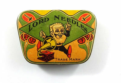 Nice Lord Needles Gramophone Tin Case Full. Rare Color!!