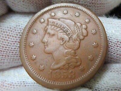 1853 Braided Hair U.S. Large Cent, and free shipping