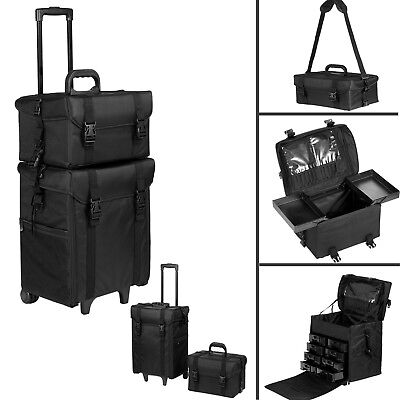 Makeup Travel Case, Pro 2 in 1 Rolling Beauty Trolley Make Organizer