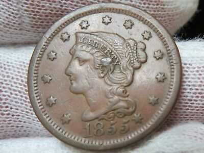 1855 Braided Hair U.S. Large Cent, Slant 5's Knob Ear and free shipping