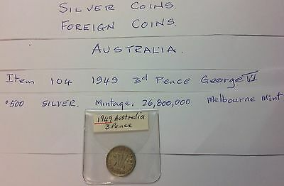 COIN., FOREIGN., AUSTRALIA., 1949..,GEORGE VI..SILVER.THREE PENCE.ITEM No, 104..