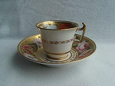 English Porcelain Davenport? Spode? Cup & Saucer Painted Flowers