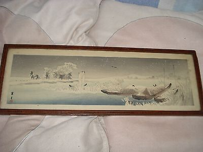 Framed Vintage antique Japanese scroll painting,Boats on a lake signed