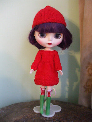Blythe clothes: Dress & pixie hat with free vintage boots & socks. No doll.