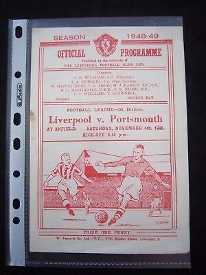 LIVERPOOL FC - PORTSMOUTH FC   1948/49   Division 1  // Orig.Programme  !!  RARE
