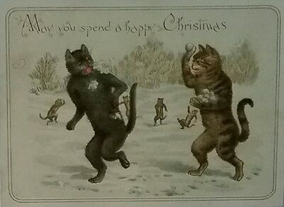 Nice Victorian Christmas Card. Cats  snowballing. Approx. 9&1/2×7cms