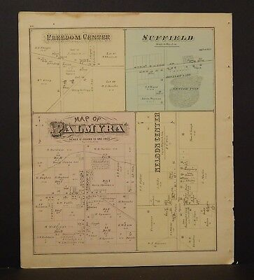 Ohio Portage County Map Deerfield Center Campbellsport   1874 Dbl Side  Y14#30