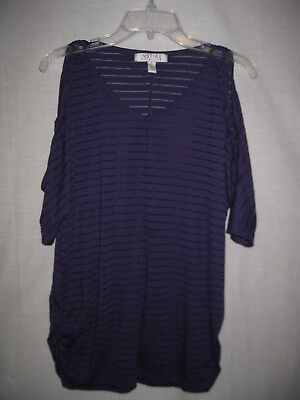 Inspire Maternity-L-Purple Open Shoulder Top With Great Details