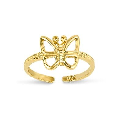 14k Yellow Gold Butterfly Toe Ring