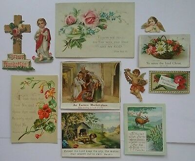 A lovely  selection of 7 Victorian Religious Cards+ 4 Embossed scraps