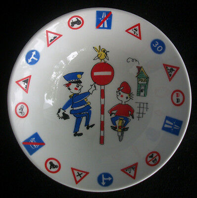 Child's Cereal Bowl Ceramic / Porcelain Foreign St. Signs Angry Cop / Police Man