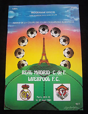 Orig.PRG   European Cup 1980/81   FINAL  REAL MADRID - LIVERPOOL FC !! VERY RARE