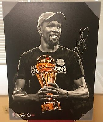 2017 Panini KEVIN DURANT Autograph Auto Signed Finals MVP Canvas 24x32 Warriors