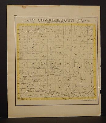 Ohio Portage County Map Charlestown Township 1874 Dbl Side  Y14#34