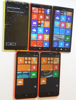 Lot of 5 Nokia GSM Smartphones 3 Lumia 1520 AT&T & 2 Lumia 1320 Cricket AS-IS