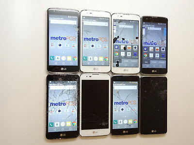 Lot of 8 LG K7 MS330 MetroPCS Smartphones All Power On Cracked AS-IS GSM