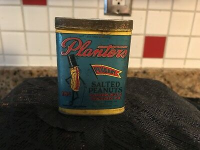 Very Rare Planters Mr Peanut Pennant 2 Ounce Flat Pocket Tin Litho  Hard To Find