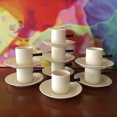 """Victoria"" Czechoslovakia China // Set of Eight Demitasse Cups & Saucers"