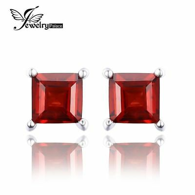 JewelryPalace Square 0.8ct Created Red Ruby 925 Sterling Silver Stud Earrings Fa
