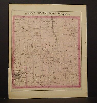 Ohio Portage County Map Nelson Township 1874 Dbl Side  Y14#41