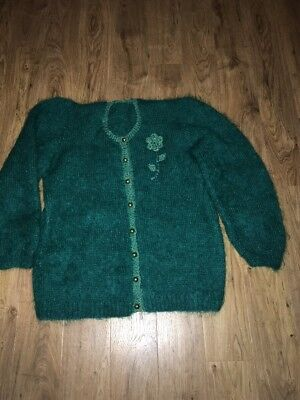 Stunning Green Vintage Hand Knitted Mohair Cardigan Size M-L