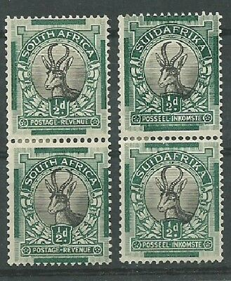 South Africa UNION - PICTORIALS 2 x 1/2d pairs Afr & English *MM* - Beautiful