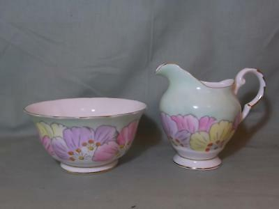 Vintage Plant Tuscan China Milk Jug & Sugar Bowl Stunning Floral Pattern No.7424
