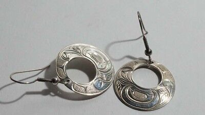 E470 Superb Haida Northwest Coast Sterling Signed Hummingbird Earrings Dated 99
