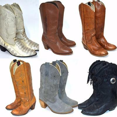 Women's LOT 6 LEATHER Vintage 70s Leather Boots Resale Upcycle Acme Fringe Snake