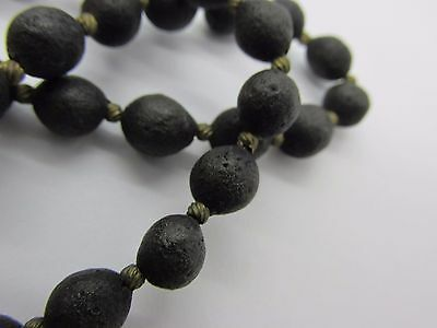 Antique Victorian Gutta Percha Bog Oak Jet Vulcanite Beaded Mourning Necklace