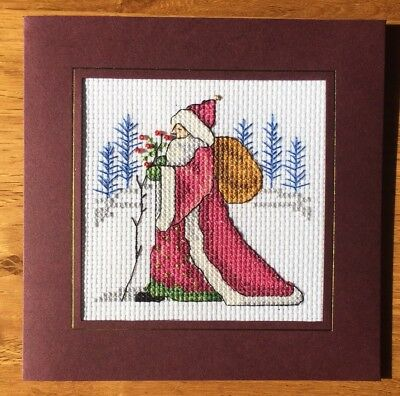 Completed Cross Stitch Christmas Card Father Christmas  6x6inch