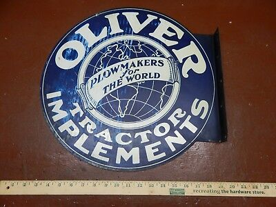 Vintage Oliver Tractor Metal Sign Double Sided