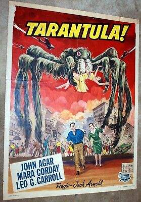 Belgian Movie Poster TARANTULA original vintage trimmed at top with stamps folds