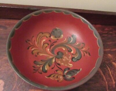 Vintage Norwegian Handpainted Rosemaling Wood Bowl