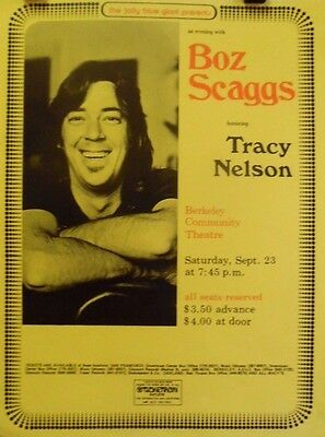 Boz Scaggs & Tracy Nelson | Berkeley | Orig. 1972 Concert Poster