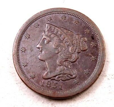 1851 Braided Hair Half Cent // Uncirculated // (HC491)