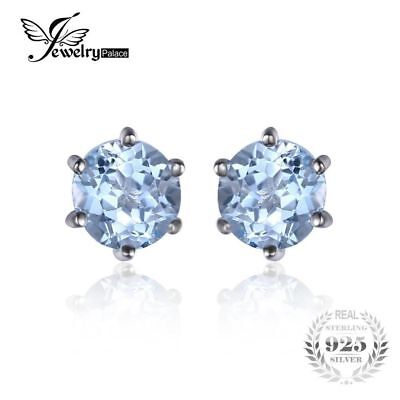 JewelryPalace Natural Blue Topaz Earrings Stud Genuine 925 Sterling Silver Jewel