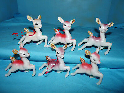 Set of 6~Vtg~SOFT PLASTIC REINDEER~Moving POSING HEAD Xmas Ornament~Sleigh Decor