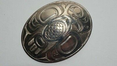 E484 Stunning Haida Northwest Coast RCB Signed Large Oval Eagle Pendant