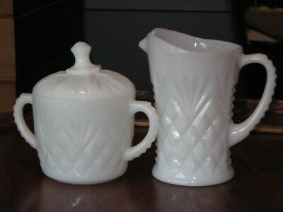 AH Early American Prescut Pineapple Fan Pattern white milk glass sugar / creamer