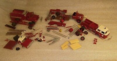 Fire Trucks, 3 to finish building, white metal, old & vintage, very cool!!!