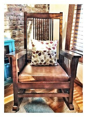 Large Mission-style rocking chair w/decorative pillow