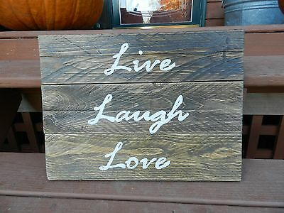 Live, Laugh, Love pallet wood accents sign rustic wall art reclaimed materials